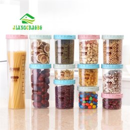 wholesale bread boxes Coupons - wholesale Scaled Transparent Sealed Jar Kitchen Noodle Storage Tank Plastic Grains Storage Cans Snack Storage