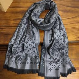 Produits féminins en Ligne-Nouveau produit chaud automne et hiver lettres jacquard tricotées coton matériel longues écharpes femme châle taille 200cm - 70cm