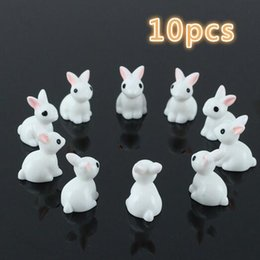 10 Pz Bella Miniatura Mini Coniglio In Resina Giardino Fata Ornamento Fiore Vaso da Fiori Figurine Decorazione Animale @ LS JU0117 cheap mini animal figurines da mini figurine animali fornitori