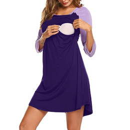 Argentina MUQGEW albornoz mujeres de algodón sexy vestido de noche Vestido de maternidad de las mujeres de enfermería camisón lactancia Nightshirt ropa de dormir # G3 supplier xl cotton maternity dresses Suministro