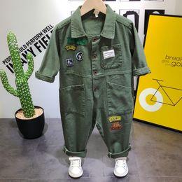 vestito dell'esercito dei ragazzi Sconti Moda Trendy Autunno Neonati Abbigliamento Casual Verde militare Tuta Pagliaccetto Pantaloni cargo 1 Abiti Bambini Set di abbigliamento per bambini