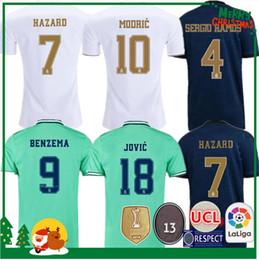 Pullover mannare online-19 20 Real Madrid calcio Jersey Benzema JOVIC Modric Sergio Ramos per balle PERICOLO 2019 2020 adulti Kids kit uomo Canottiera da calcio donna sportiva