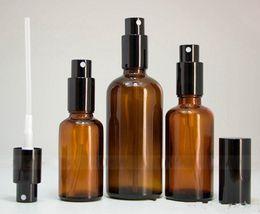 vaporisateur de bouteilles de parfum Promotion Vente en gros de 30 ml 50 ml 100 ml de bouteilles en aérosol de verre ambré pour le parfum d'huile Eliquid avec pompe de pulvérisateur à bouchon noir