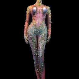 Argentina Mujeres celebran el Festival Cantante de Leotard Bar Traje de Danza Escénica Cristales Brillantes Piedras de Imitación Sexy Mono Traje Desnudo Estiramiento cheap sexy leotard outfit Suministro