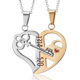 Пазл любовь онлайн-Ключевые сердце ожерелье из нержавеющей стали Мужская женская пара ожерелье Кулон Love Heart CZ Puzzle Matching