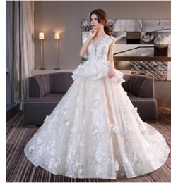 vestidos de casamento coreano doce Desconto Venda de vestido de casamento doce 2019 estilo verão rabo de dama de honra vestidos estilo coreano vestido de tule para casamento vestido de noiva Vintage