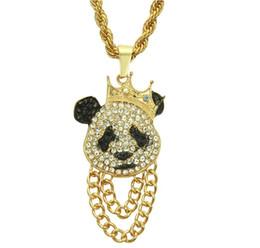 2019 colliers de panda Hip Hop Vent Collier À La Mode Diamant Motif De Bande Dessinée De Mode Panda Pendentif Collier Hommes Hip Hop Rap Accessoires promotion colliers de panda