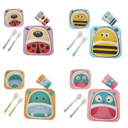 Bambus geschenkset online-5pc / set kindergeschirr bambusfaser sets cartoon geschirr kreatives geschenk für säuglingskleinkind kinder geschirr set