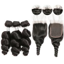 Pelo suave indio online-Soft Indian Loose Wave 3 paquetes de cabello con cierre Pre Plucked Lace Closure con bebé Baby Raw Virgin Virgin Indian Virgin paquetes de cabello humano
