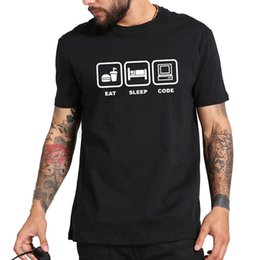 e0c35190 Eat Sleep Code Tee Shirt Work Before Computer Fashion Shirts Men 100%  Cotton Style Round Style t shirt Tees Custom Jersey t shirt