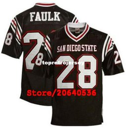 2019 maillot bleu américain État des Aztèques # 28 Marshall Faulk College maillot de football rétro maillots de couture noirs et blancs