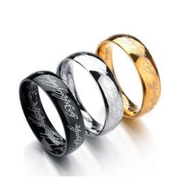 Cores Titanium O Hobbit Senhor dos Anéis anel de dedo 6mm 18 k prata ouro preto Anéis Mágicos para as mulheres homens filme jóias D1 de
