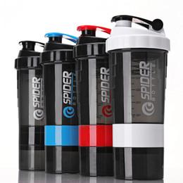 Shaker cups online-3In1 Spinnen-Shaker Wasserflasche 500ml Sport mit eingesetztem Becher Outdoor Fitness Cups mit Skala Geburtstagsgeschenke DHL WX9-1409