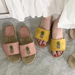 sapatas de borracha pretas coreanas Desconto Ins Coreano Abacaxi Mulheres Chinelos de Verão Slides Casuais de Palha Fora Chinelos Interior Sapatos de Praia Babouche Sapatos De Borracha Preta