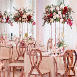 suportes de chão de flores Desconto 10 PCS Vaso de Flores de Ouro Vaso de Chão Coluna Suporte de Estrada de Metal Chumbo de Mesa Central de Casamento Rack de Flor Para A Decoração Do Partido Do Evento