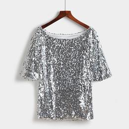 2019 chemisier à paillettes grande taille Hauts et chemisiers pour femmes d'été Mode décontractée Blouse Chemisier à manches courtes, plus la taille blusa feminina S-5XL chemisier à paillettes grande taille pas cher