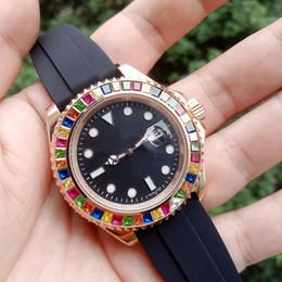 Montre arc-en-ciel en Ligne-Montres de montres de luxe 2019 Rainbow Diamond 2813 Automatic Mechanical Stainless Steel Men