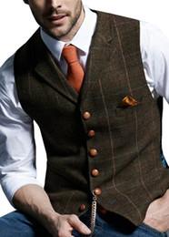 Casaco de casamento colete cinza on-line-Mens Suit Vest entalhado da manta de lã espinha Tweed Colete Casual Formal Negócios Groomman Para Casamento verde / preto / verde / cinza
