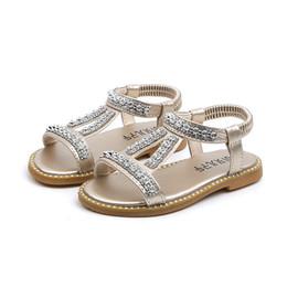 Strass sandales gladiateur argent en Ligne-Été Filles Sandales Enfants Strass Princesse Sandales Filles Mode Chaussures Enfants Gladiateur Chaussures Sandales Argent Or