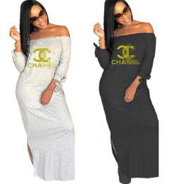 2019 robe en gros à col roulé noir Femmes Designer Dress C Lettres Imprimé D'été Femmes Off épaule Dress Marque De Mode Split Jupes Longues Tenues Casual Vêtements C7807