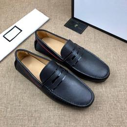 homens loafer sapatos elegantes Desconto Frete Grátis Mens Loafers Driver Shoes Designer Slip-on Sapatilha Ocasional Barco De Couro Plana Sapatos Para Homens Vestido Sapato Elegante Online