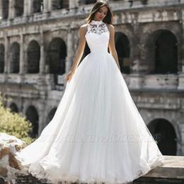 5bb68d83fb70 designer abiti da sposa bohemien Sconti Arabo semplice Designer A Line Abiti  da sposa Halter collo