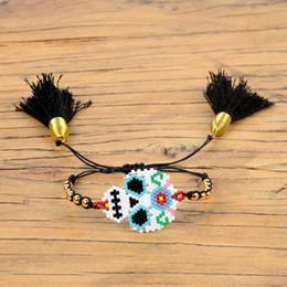 Mexikanischen charme armbänder online-Shinus Mexican Skull Armband Damen Pulseras Mujer Moda 2019 Delica Miyuki Armbänder Bileklik Schmuck Miyuki Joyeria Handwoven
