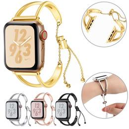 Pulsera de muñeca pulsera online-Cadena de reloj de acero inoxidable para Apple Watch Band 38mm 42mm iwatch Series 1 2 3 4 Pulsera Correas Reloj de pulsera