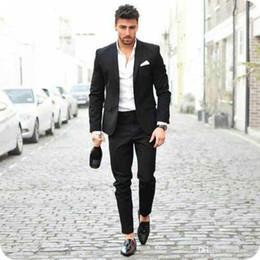 pantaloni di vestito dal cielo blu degli uomini Sconti Ultimi Pantaloni Cappotto Disegni Uomo Nero Abiti Business Casual Sposo Smoking Da Sposa Uomo Blazer 2 Pezzi Groomsmen Vestito Slim Fit Costume Homme