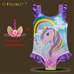 Cavalo de cabeça on-line-2018 Meninas Unicorn Swimsuit Crianças Swimwear Unicorn Headband Bikini Set bebé do arco-íris banho cavalo roupas Terno para