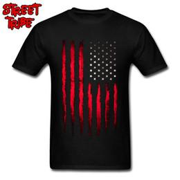2019 camisetas al por mayor de ee. Vaquero EE. UU. Camiseta de la Bandera de Los Hombres Camiseta de Rayas Rojo Tops Chicos Algodón Camisas de América Bandera de América Imprimir Ropa Equipo Camisetas Punk al por mayor camisetas al por mayor de ee. baratos