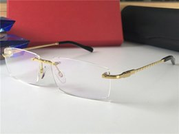 Rahmenlose brille titan online-New Luxury Designer Optical Glasses 8200963 Classic Square Rahmenlose Optische Glänzende Gold Titan Brillen Top Qualität Kommen mit Fall