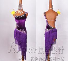 Vestido de diamante roxo on-line-Vestidos De Competição De Dança Latina Realizando Vestidos Liuzhou Saia De Veludo Roxo Bordado Água Diamante Estilo High-end