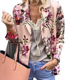 2019 coreani blazer Lady Suit 2019 Caduta stampa floreale corto Blazer donne coreane a maniche lunghe Slim Blazer coreani blazer economici