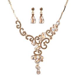 Ювелирные наборы для подружек невесты онлайн-Rhinestone Crystal Necklace Earrings Charm Wedding Silver Jewelry Set Gift For Bridal Bridesmaids Hot Sale