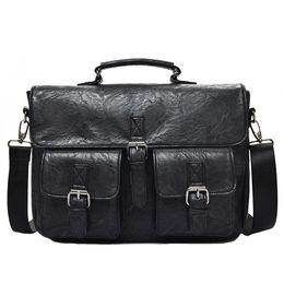 männer diagonale tasche Rabatt Multifunktionale Männer Schulter Diagonale Tasche Business Aktentasche Pu-Leder Mens Fashion 14 Zoll Taschen J190629