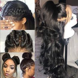 rihanna peruca cabelo humano Desconto Beau Diva 360 Lace Wig frontal Pré Arrancado Com onda do corpo do cabelo do bebê brasileiro do cabelo humano perucas Remy cabelo rendas frente Wigs 10 '' - 24 ''