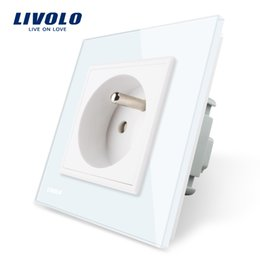 glasses outlet Coupons - Livolo New Outlet,French Standard Wall Power Socket, White Crystal Glass Panel, EU Standard, AC 220-250, 16A