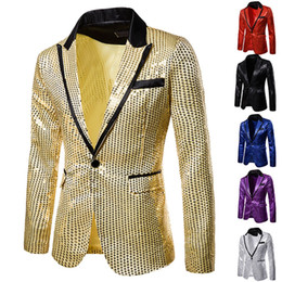 Costume de paillettes hommes en Ligne-Charme One Button Casual Men Fit Costume Blazer Manteau Veste Sequin Parti Top Dropshipping bas prix style homme femme discount