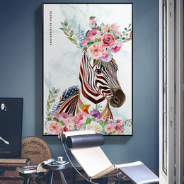 Pintura de cebra casera online-Modern Floral Zebra Animal Canvas Painting Gallery Posters and Prints Wall Art Pictures for Living Room Interior Home Decor