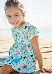 2020 nuevo vestido de verano niña pequeña lindos vestidos de niña pequeña de algodón con estampado unicornio de verano 2019 rebajas nuevo vestido de verano niña pequeña