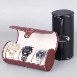 organizadores de joyería rodante Rebajas YCYS 3-Slot Caja de reloj de pulsera caso del recorrido del rollo almacenaje de la joyería del colector Organizador de gama alta de caja de reloj de regalo