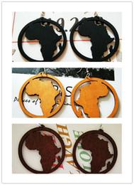 I monili geometrici del modello online-dunhuangwang Esagero modello africano geometrico rotondo mappa orecchini in legno Orecchini in legno moda orecchini orecchio gioielli