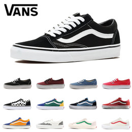 f15f421573fb06 Original Vans Old Skool canvas sneakers fear of god classic black white red  YACHT CLUB blue for men women Skateboard shoes