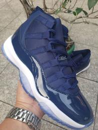 волокнистый углерод темно-синий Скидка Новые 11 темно-синие Высокие Мужские Баскетбольные Ботинки 11 кроссовки спортивные уличные кроссовки из углеродного волокна с коробкой высшего качества размер 7-13