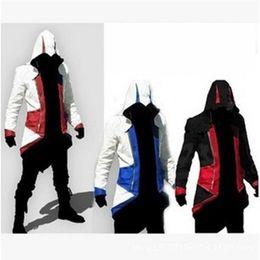 Assassins Creed 3 III Conner Kenway Ezio Casaco Com Capuz Casaco Anime Cosplay Assassino do Traje de Cosplay Sobretudo cheap assassins creed costume coats de Fornecedores de casacos de fantasia assassins creed