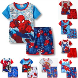 Pigiama spiderman 3t online-Spiderman bambini vestiti 10 stili Neonati maschi manica corta pigiama 2 pezzi Per bambini pigiameria pigiama set Tuta abbigliamento per bambini JY292