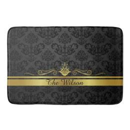 Alfombras de color beige online-Moderno Negro Oro Filigrana Personalizado Estera de la Puerta Elegante Damasco Bienvenido Felpudo Alfombra Alfombra Alfombra Alfombra Alfombra de Entrada Personalizada