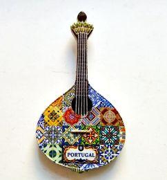 handgemachte 3d-aufkleber Rabatt Handgemachte Gemalte Portugal Gitarre 3D Harz Kühlschrankmagnete Tourismus Souvenirs Kühlschrank Magnetische Aufkleber Geschenk Wohnkultur