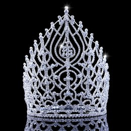 2019 grandes coronas de strass 2019 Gran concurso de bodas de lujo Tiara de oro corona Cristal de diamantes de imitación Desfile nupcial Corona y tiaras para mujeres Novia grandes coronas de strass baratos